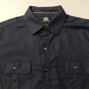 ROCK & REPUBLIC Men's Medium Black L/S Shirt
